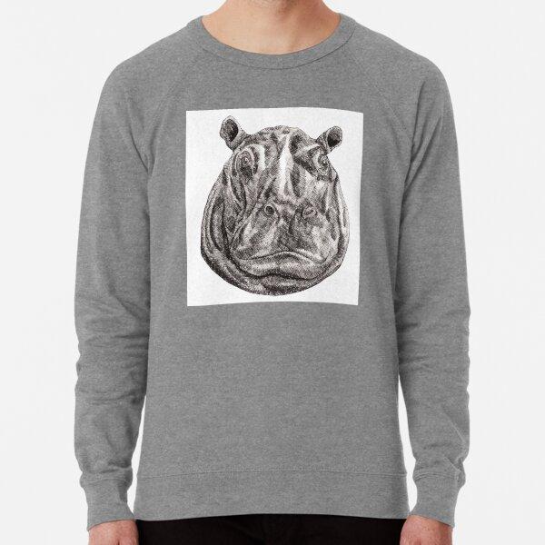 Inky Hippo Portrait Lightweight Sweatshirt