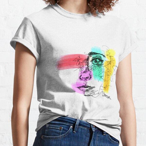 Half Face Scribbles Classic T-Shirt