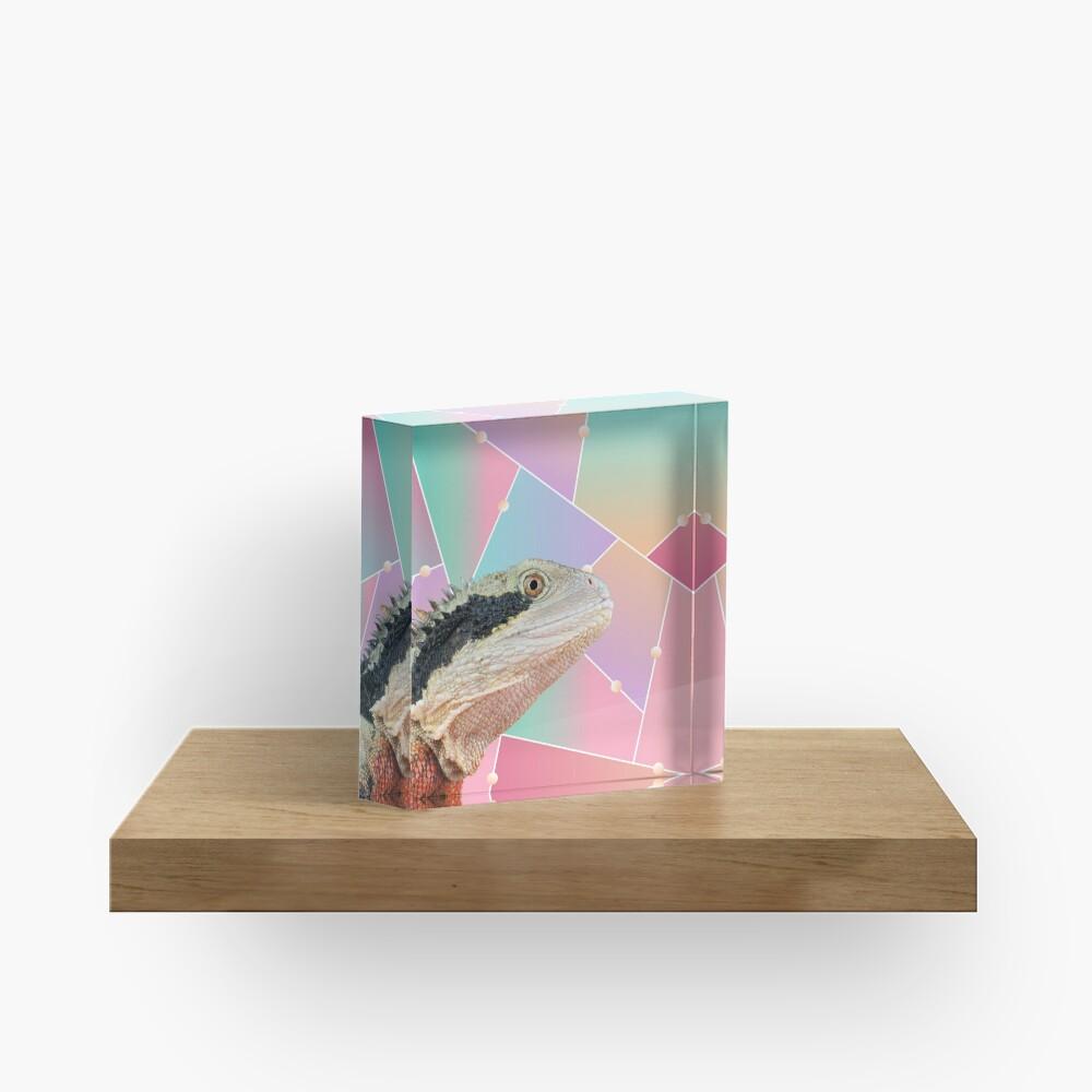 Geometric Pattern Australian Water Dragon Acrylic Block