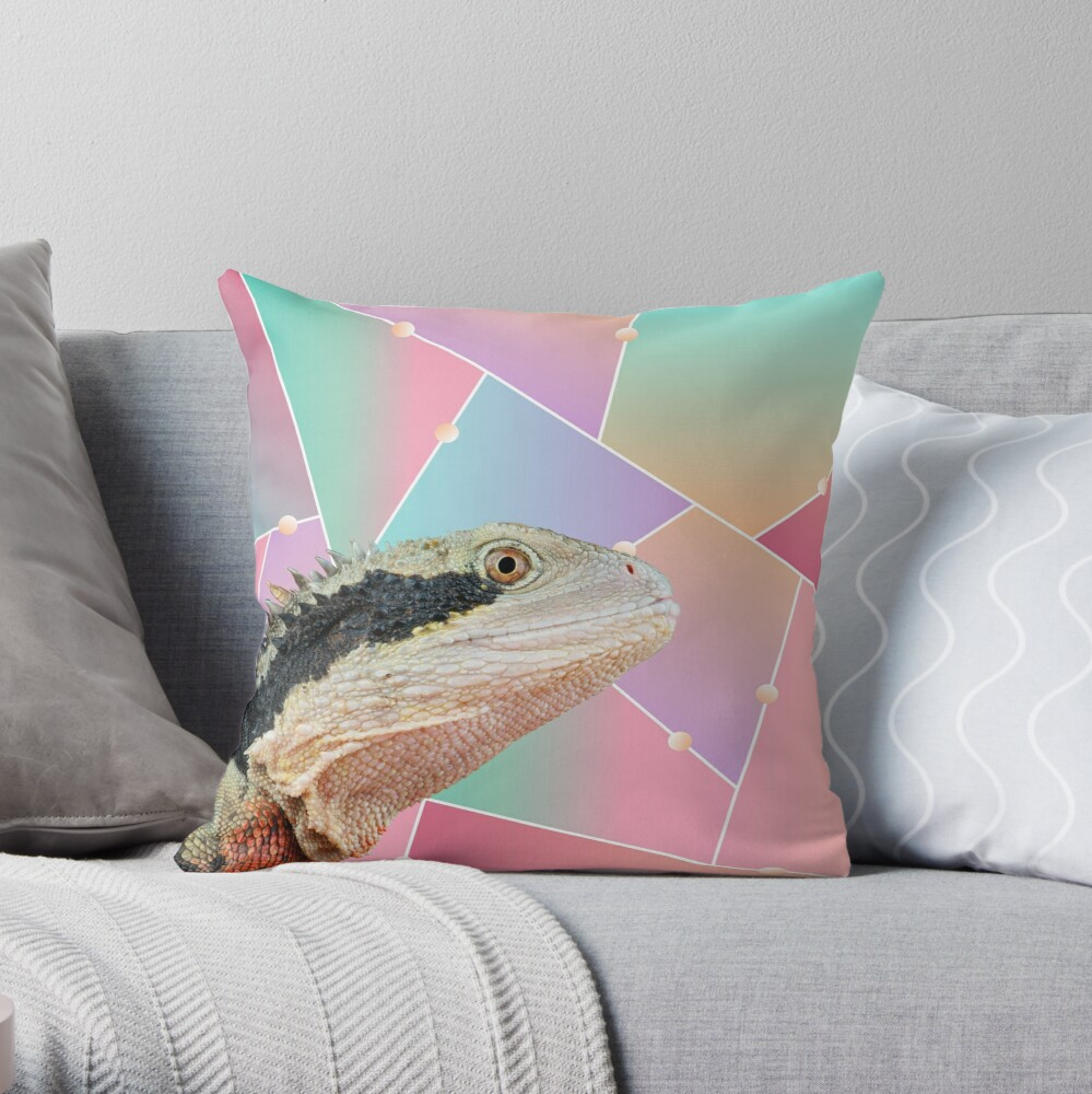Geometric Pattern Australian Water Dragon Throw Pillow