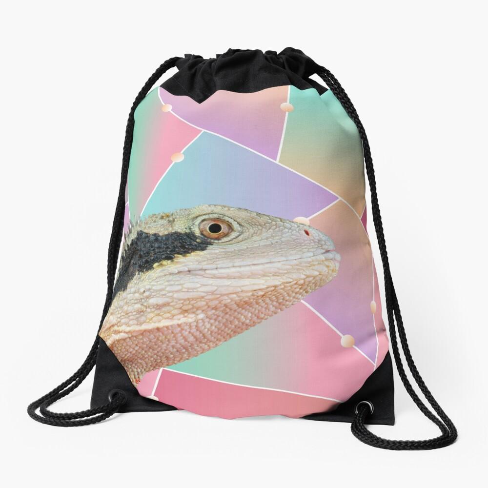 Geometric Pattern Australian Water Dragon Drawstring Bag