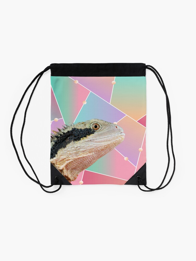Alternate view of Geometric Pattern Australian Water Dragon Drawstring Bag