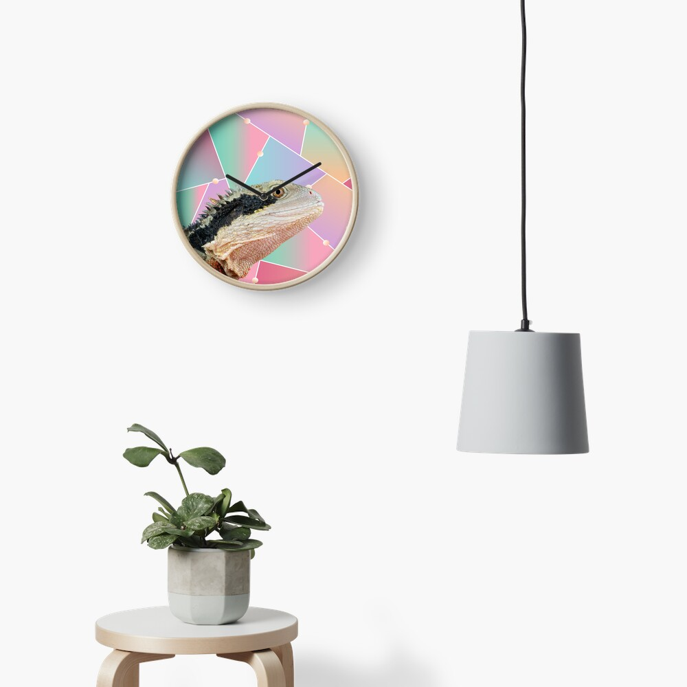 Geometric Pattern Australian Water Dragon Clock