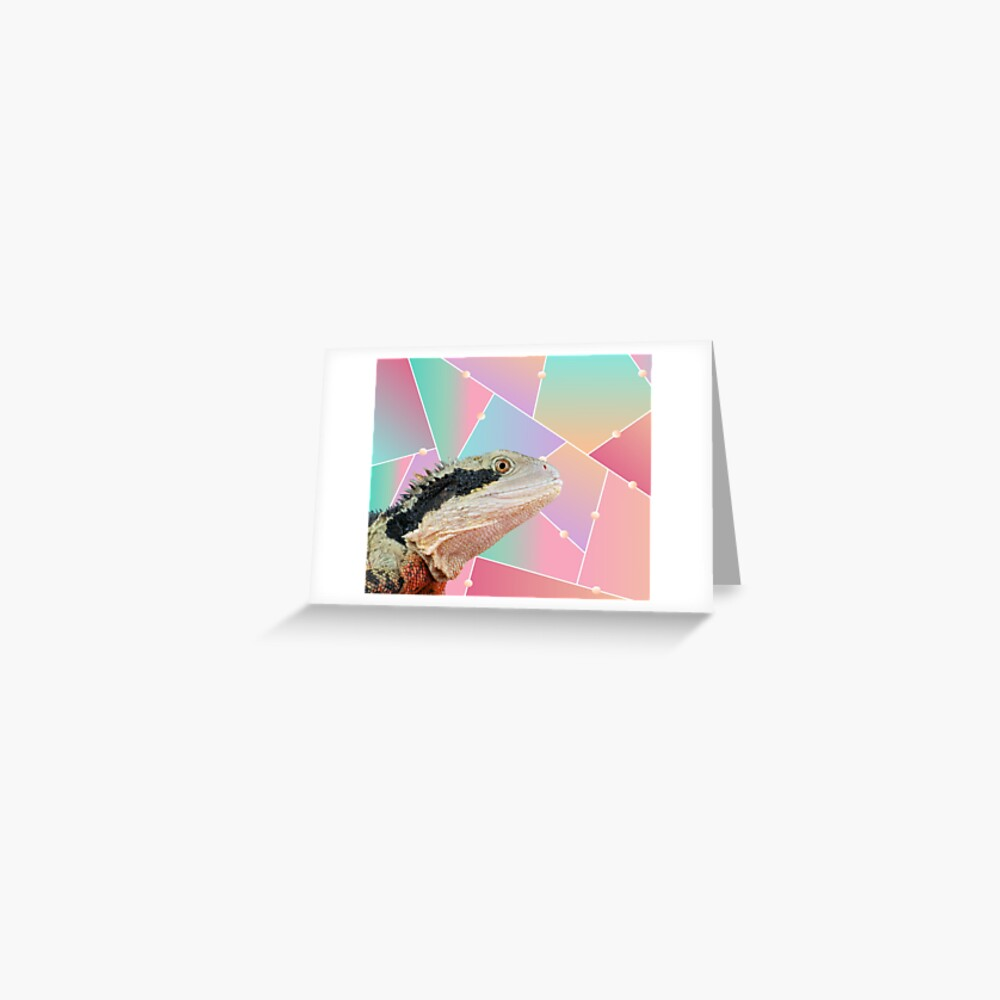 Geometric Pattern Australian Water Dragon Greeting Card