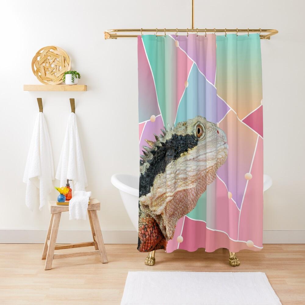Geometric Pattern Australian Water Dragon Shower Curtain