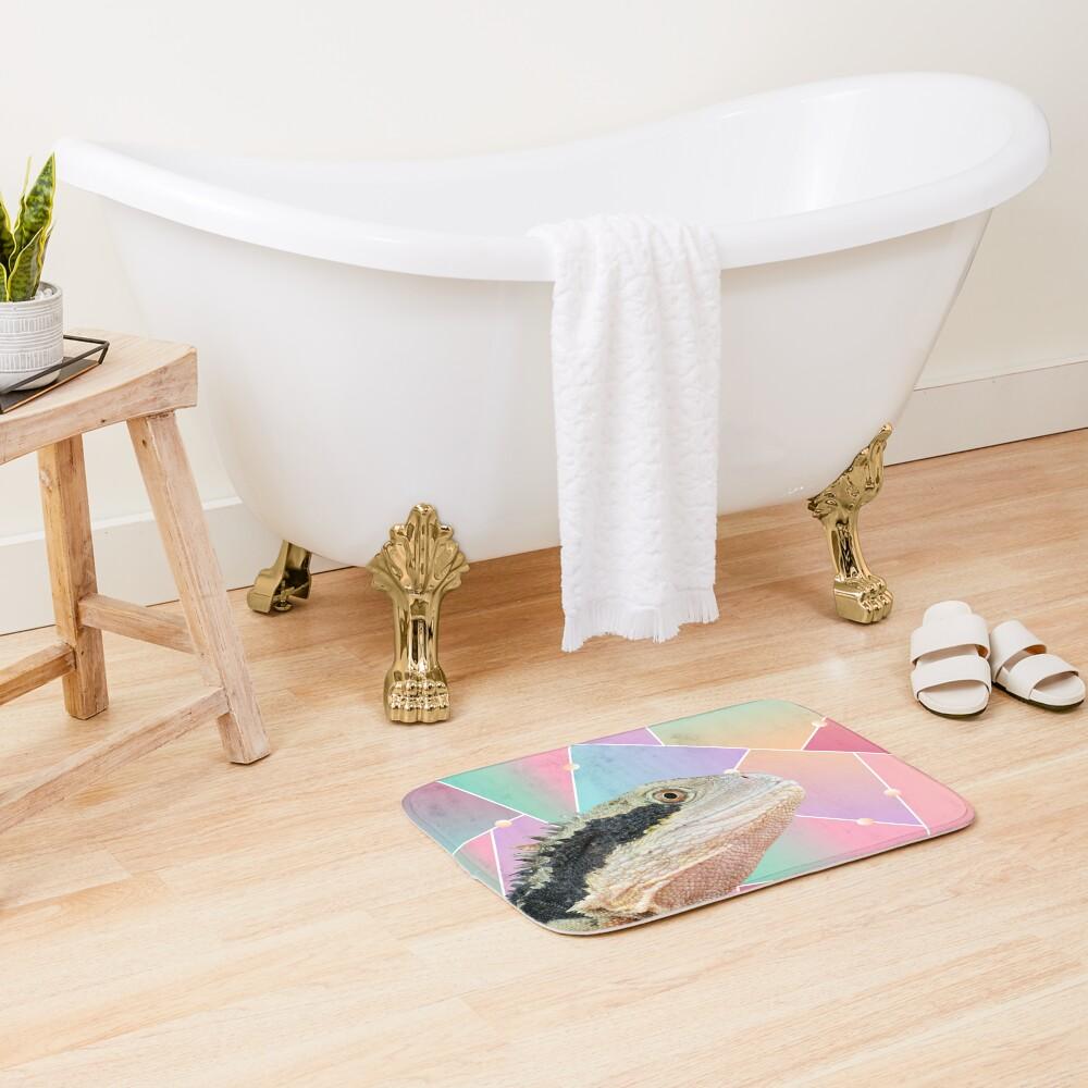 Geometric Pattern Australian Water Dragon Bath Mat