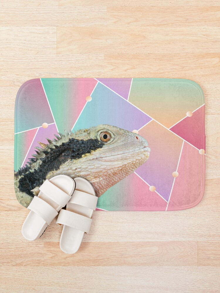 Alternate view of Geometric Pattern Australian Water Dragon Bath Mat