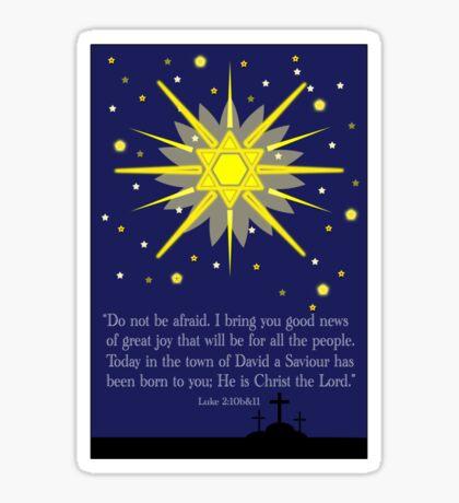 starry sky & crosses (luke 2:10-11)  front Sticker