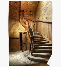 Decaying staircase in an abandoned central office Poster