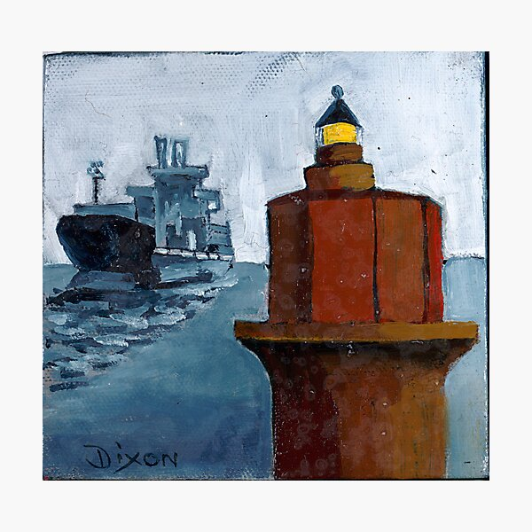 Wolf Trap Lighthouse with Passing Freighter Photographic Print