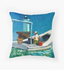 Solomon's Lump Lighthouse & Crabber in the Chesapeake Bay in 1886 Throw Pillow
