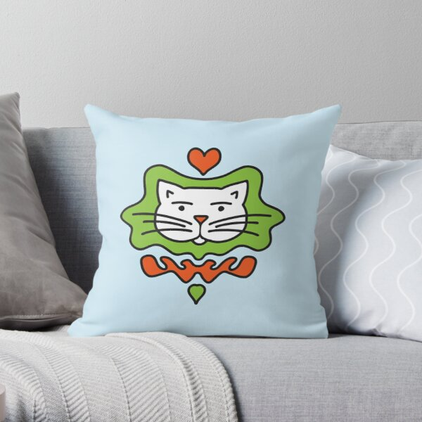 Cute Cartoon Cat with heart - Orange and Green in blue background Throw Pillow