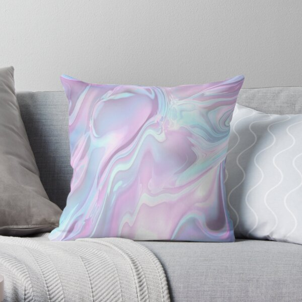 Aqua Marble Throw Pillow