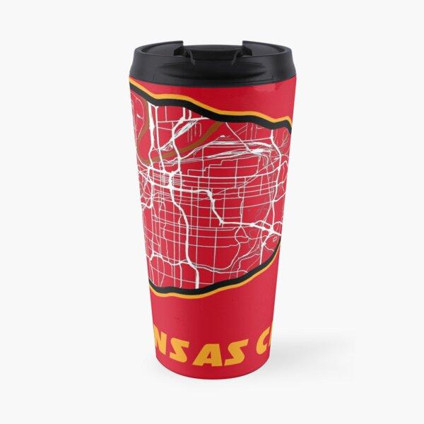 Kansas City Arrowhead Map in Chiefs Colors Travel Mug