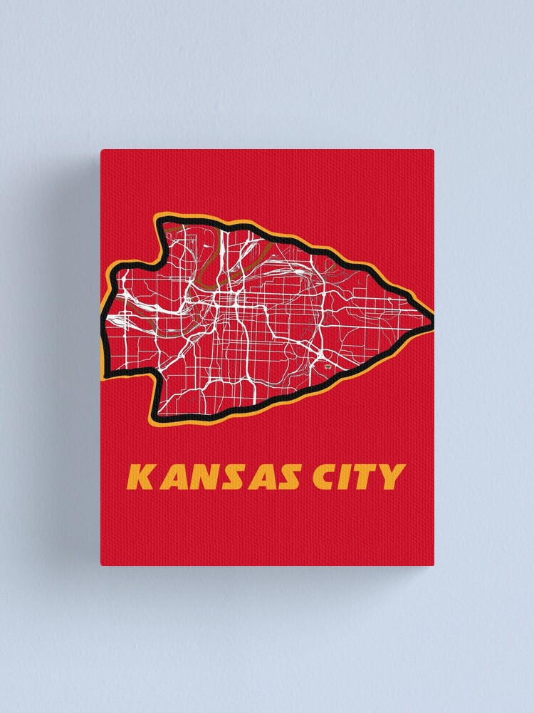 Alternate view of Kansas City Arrowhead Map in Chiefs Colors Canvas Print