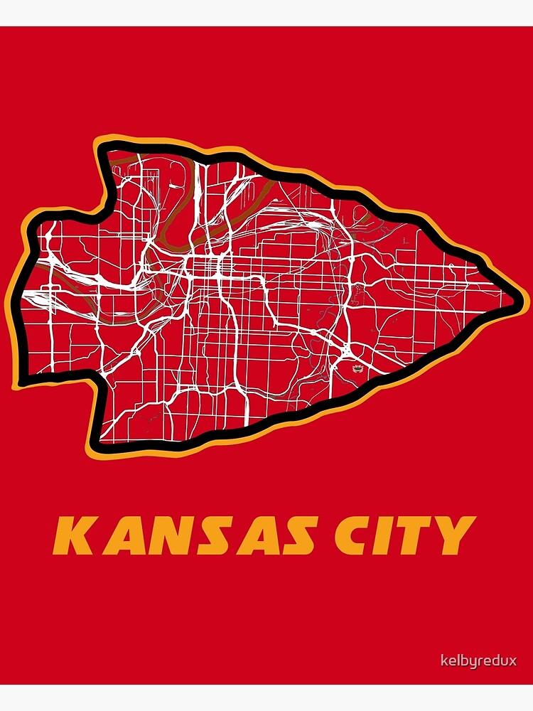 Kansas City Arrowhead Map in Chiefs Colors by kelbyredux
