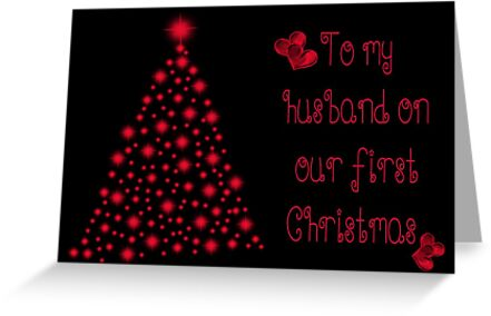 to my husband on our first christmas greeting cards by vickie emms redbubble