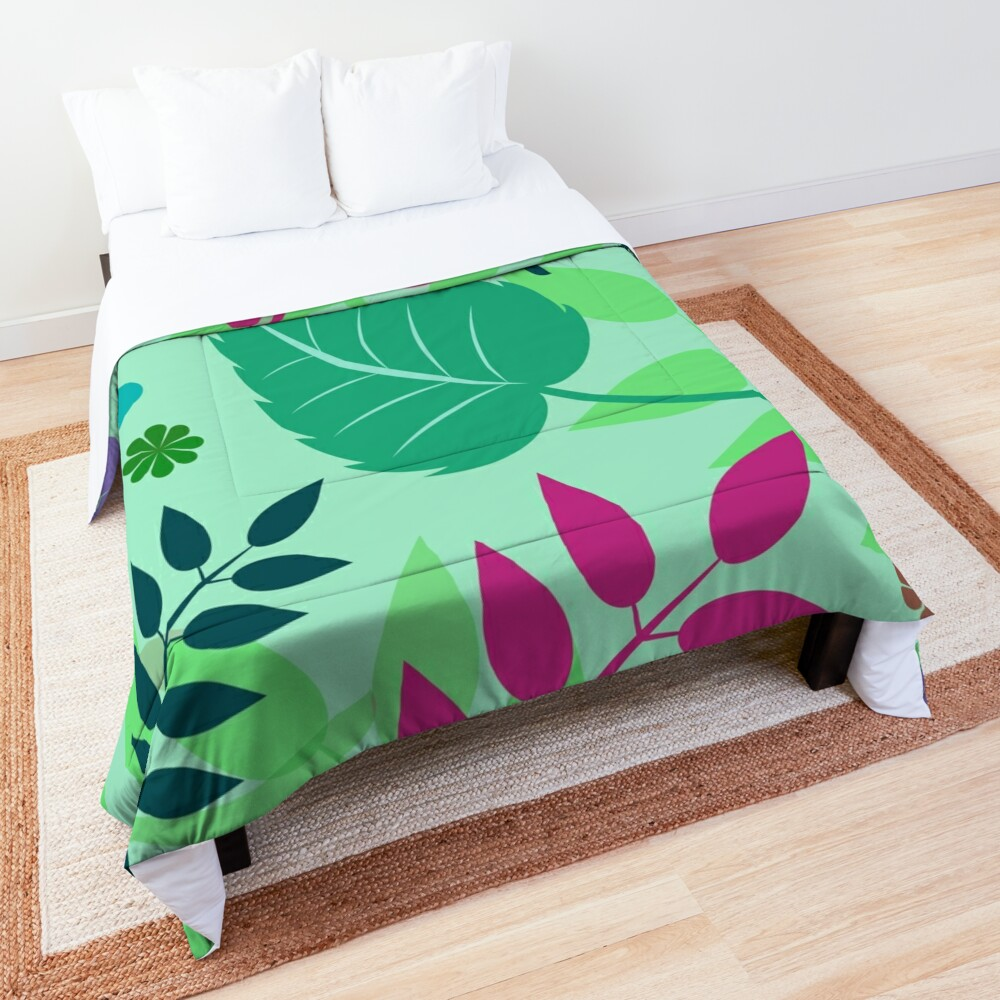 Colorful Spring Leaves Print Comforter