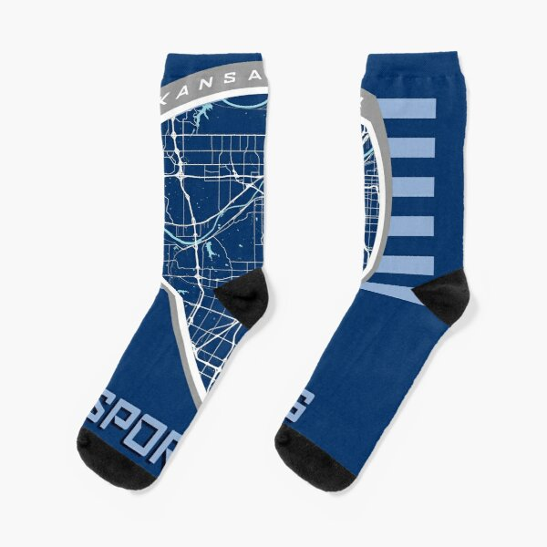 Kansas City Map in Sporting Colors Socks