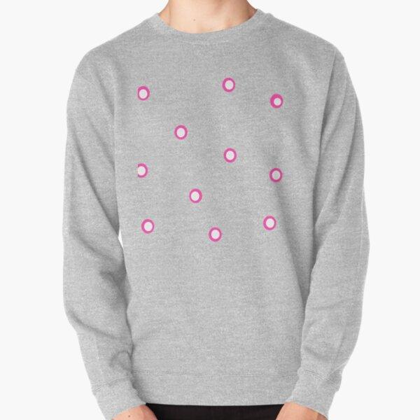 Pink and White Polka Dot Pattern Pullover Sweatshirt