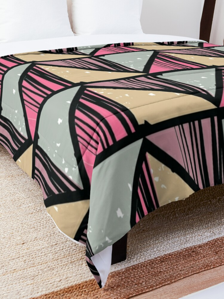 Alternate view of Colorful Pastel Stripe Retro Pattern Comforter