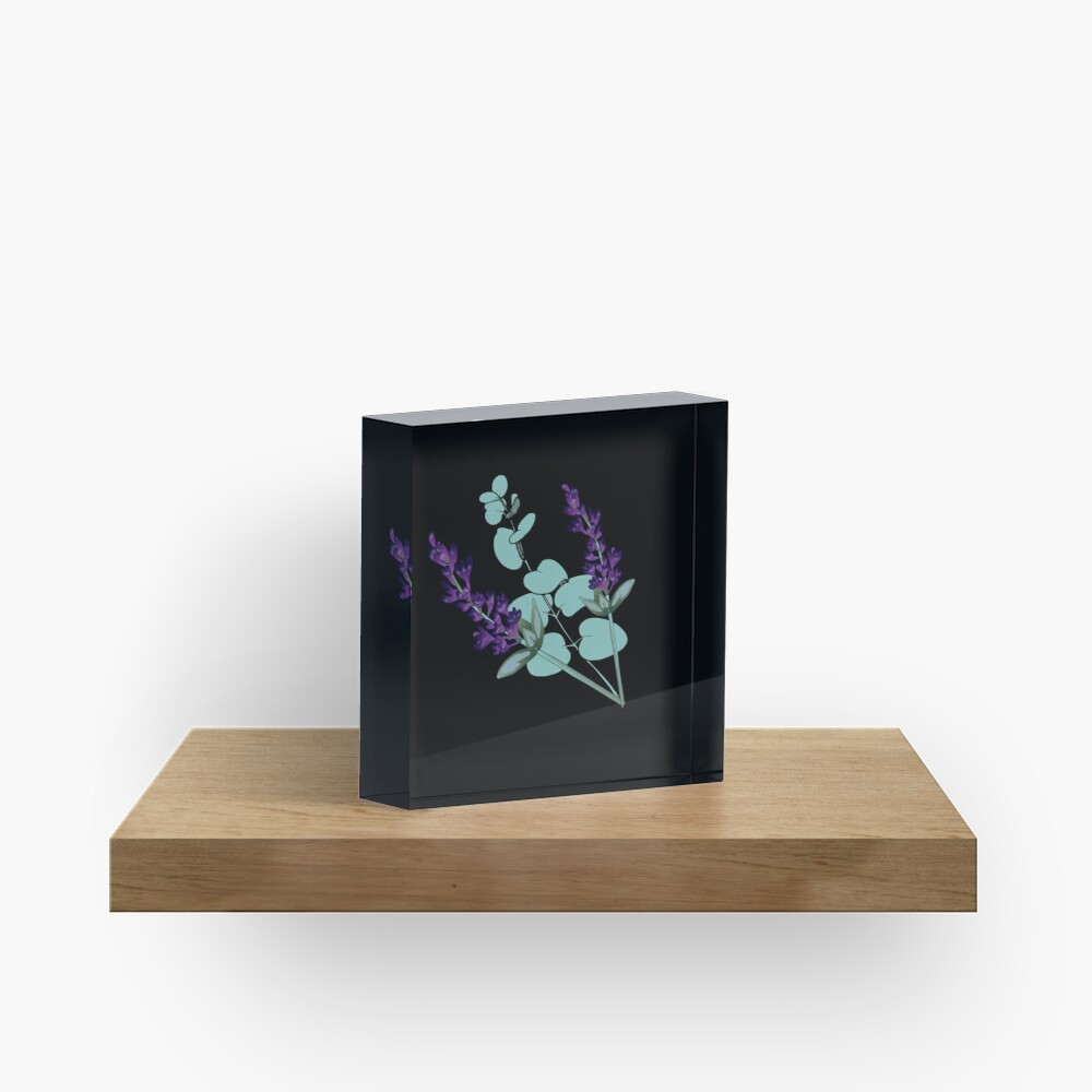 Eucalyptus and lavender Acrylic Block