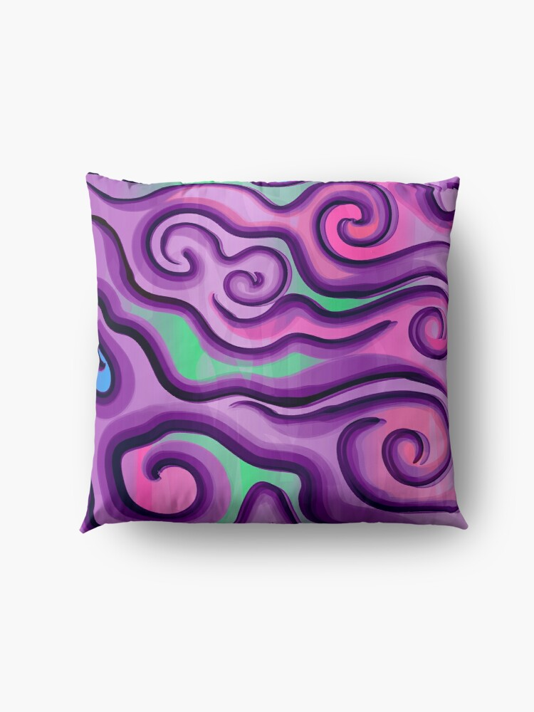 Alternate view of Psychedelic Swirls and Lines Pattern Floor Pillow