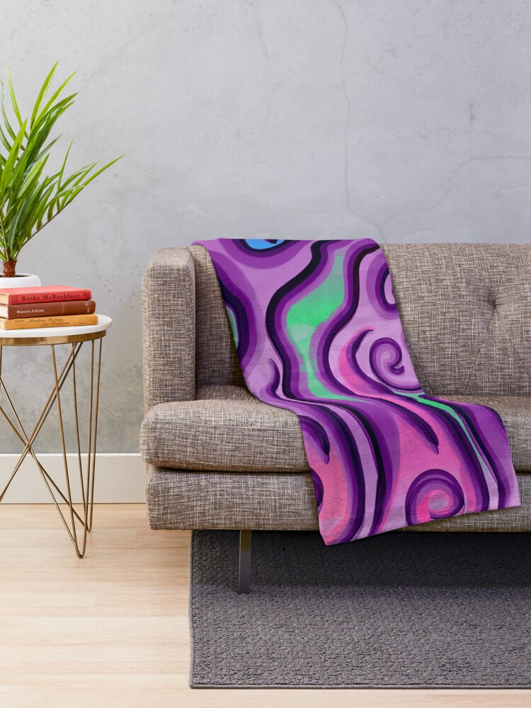 Alternate view of Psychedelic Swirls and Lines Pattern Throw Blanket