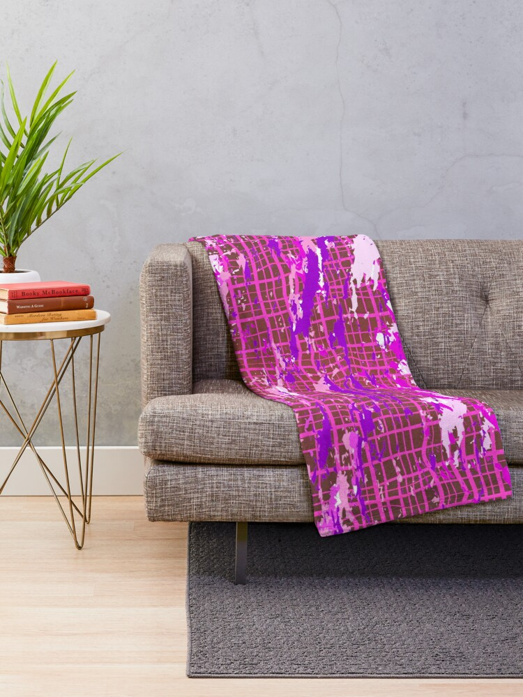Alternate view of Hipster Paint Brush Strokes Industrial Print Throw Blanket