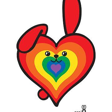 Heart Shaped GeoBunny Rainbow by 2redheadedbros
