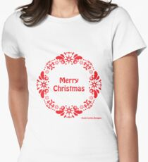 Merry Christmas Wreath Women's Fitted T-Shirt
