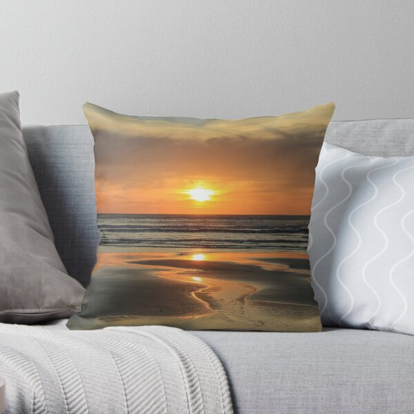 Porthtowan sunset Throw Pillow