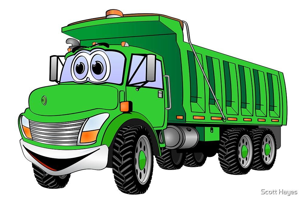 """Dump Truck 3 Axle Green Cartoon"" by Graphxpro"