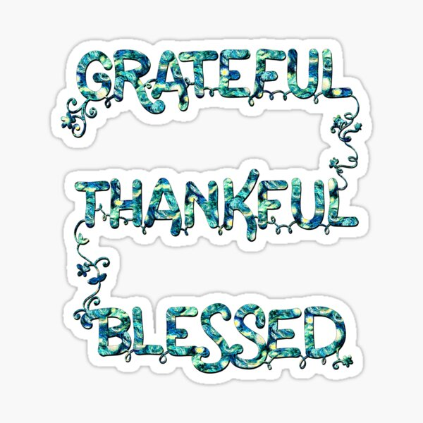 Grateful Thankful Blessed (Starry Night)  Sticker