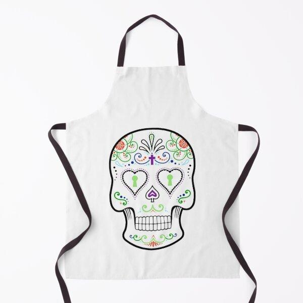 Mexican Calavera Skull White - Day of the Dead Apron