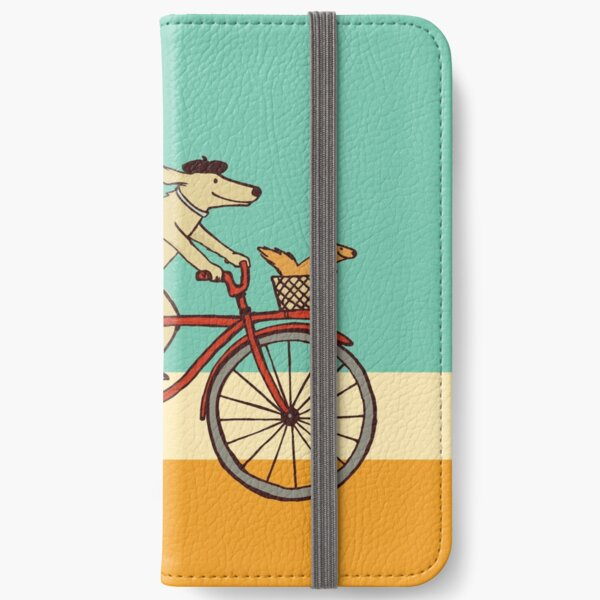 Dog and Squirrel are Friends | Whimsical Animal Art | Dog Riding a Bicycle iPhone Wallet