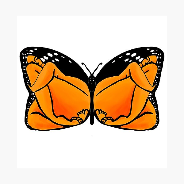Monarch, Butterfly Design with Women Photographic Print
