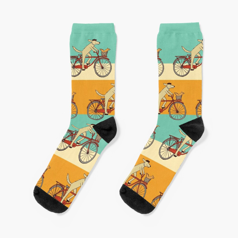 Dog and Squirrel are Friends   Whimsical Animal Art   Dog Riding a Bicycle Socks