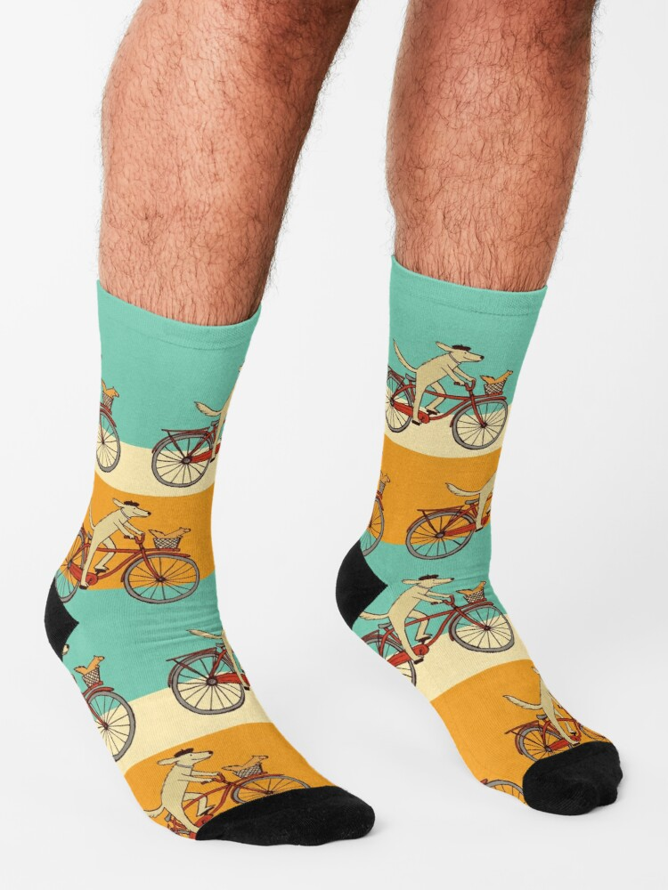Alternate view of Dog and Squirrel are Friends   Whimsical Animal Art   Dog Riding a Bicycle Socks
