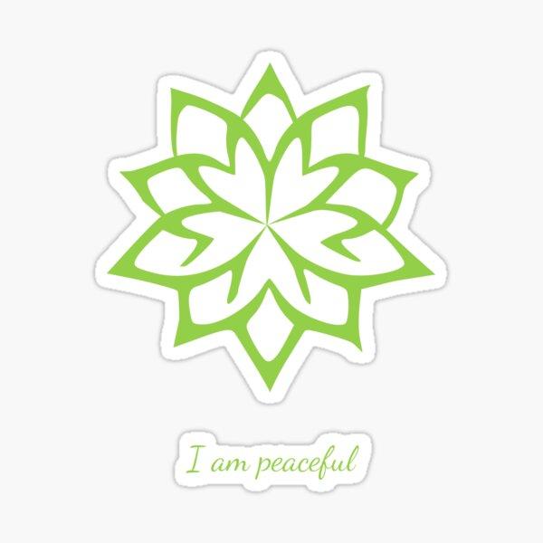 I am peaceful - Positive Affirmation - Minimalist Green Lotus Flower Sticker