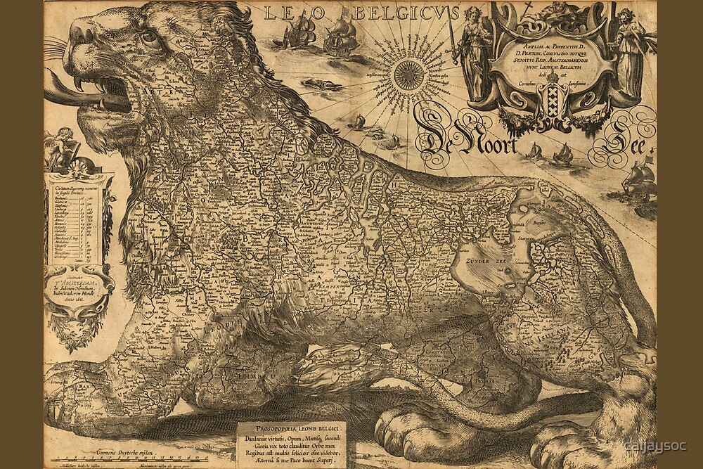 Leo Belgicus - Map of Belgium, Luxemburg and the Netherlands 1611 by caljaysoc