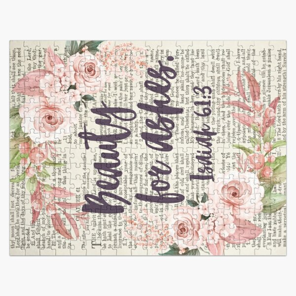 Psalm 61:3 | Beauty for Ashes | Bible Verse Art | Bible Quote Art | Christian Inspirational Quote Jigsaw Puzzle