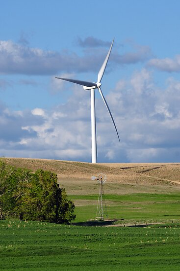 Kansas Windmill and Wind Turbine by adastraimages