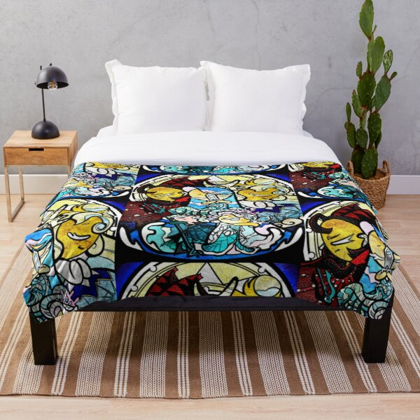 Sea fairy and moonlight - stained glass cookie run mural Throw Blanket