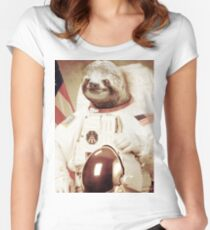 Astronaut Sloth Women's Fitted Scoop T-Shirt