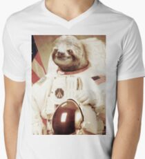 Astronaut Sloth Men's V-Neck T-Shirt