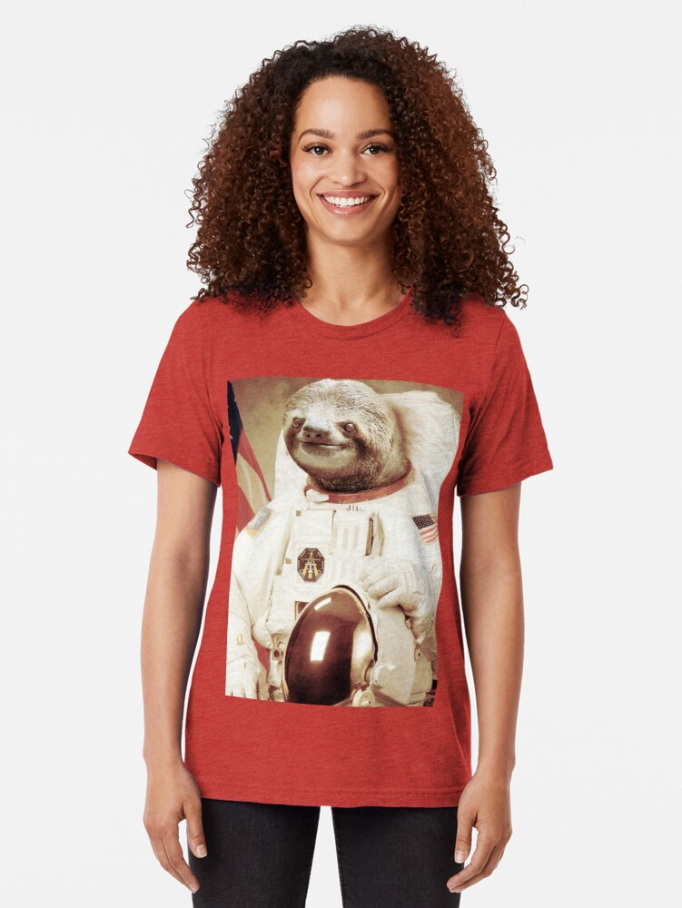 Alternate view of Astronaut Sloth Tri-blend T-Shirt