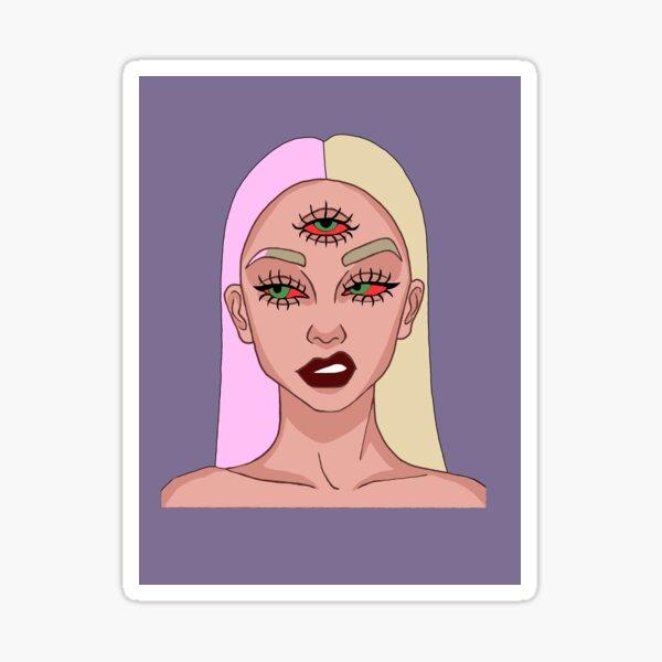 Green Eyed Girl  Sticker