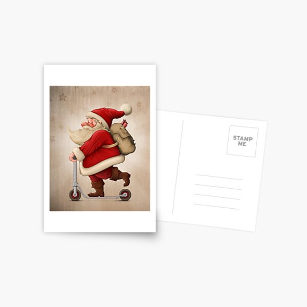 Santa Claus and the Push scooter Postcard