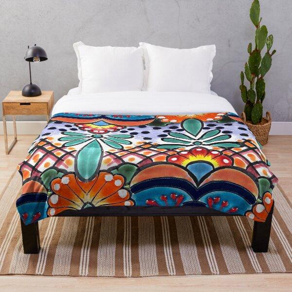Colorful Talavera, Orange Accent, Mexican Tile Design Throw Blanket